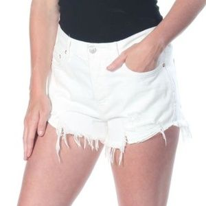 Free People Cotton High-Rise Ripped Denim White 24